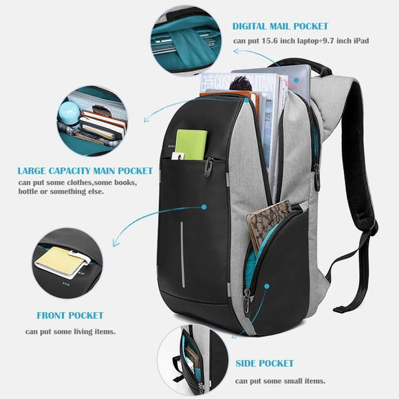 KAKA Fashion Brand USB Charging Backpack Men 15inch Laptop Bag Backpacks Male Nylon Waterproof Travel Backpack Schoolbag mochila