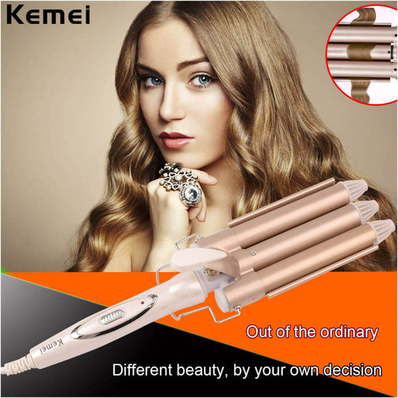 Kemei 3 Barrel Hair Waving Iron, inkint Ceramic Waving Curling Iron-Fast Heating Styling Tool with Glove LCD Screen 110-240V Dual Voltage