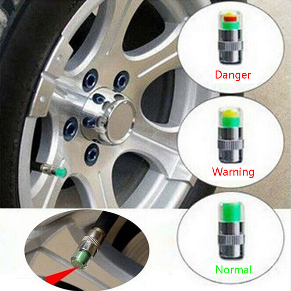 Bar Air Warning Alert Tire Valve Pressure Sensor Monitor Tyre Cap Indicator