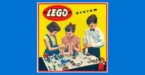 Lego logo and kids playing with Lego toys