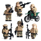 US Navy Seal Desert Warfare 6-Pack with Dog Bike & Weapons