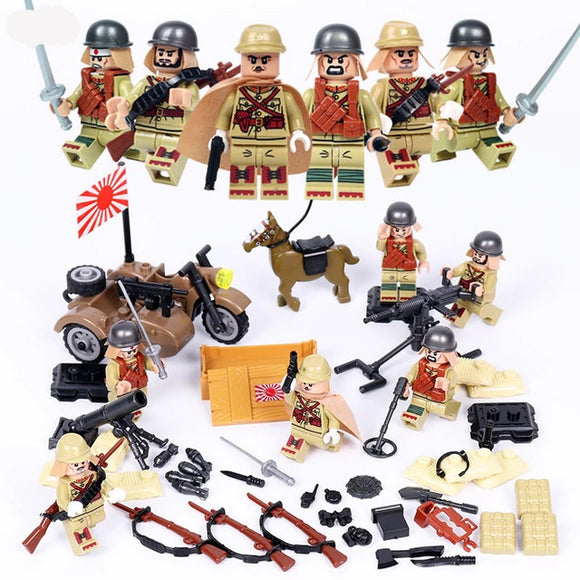 Japanese Soldiers WW2 Playset 6-Pack with Sidecar, Weapons, Horse & Dog