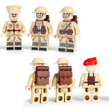 British Soldiers WW2 Minifigures 6-Pack with Weapons & Cannons