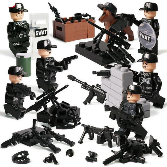 Swat Soldiers 6 Pack With Weapons Narcotics Dog The Brick Armory
