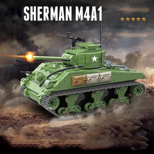M4A1 Sherman US Tank 726 Pieces 4 Soldiers + Weapons