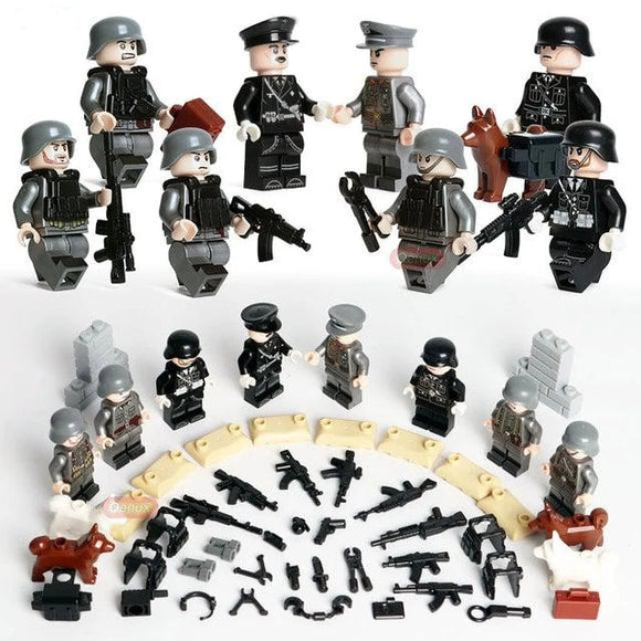 German Soldiers WW2 SS Das Reich 8-Pack with Weapons, Dogs & Barricades