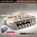 Panzerkampfwagen III WW2 German 711 Pieces 3 Soldiers + Weapons