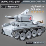 LT-38 German Light Tank 535 Pieces 3 Soldiers + Weapons