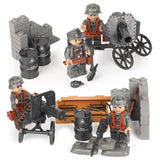 German Soldiers WW2 8-Pack with Weapons, Cannons & Barricades
