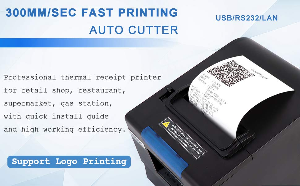 80MM thermal printer with USB+Serial+LAN three ports
