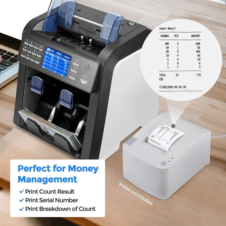 Mixed Denomination Bill Counter Sorter with Value Counting, 2 Pocket for Sorting, IMC08