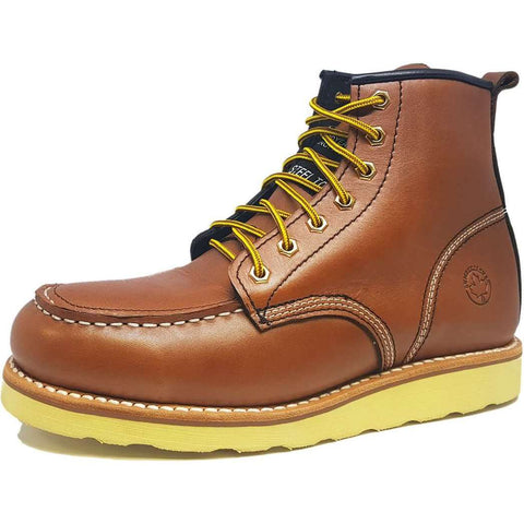 Plustrax Rugged Moc Steel Toe Boots
