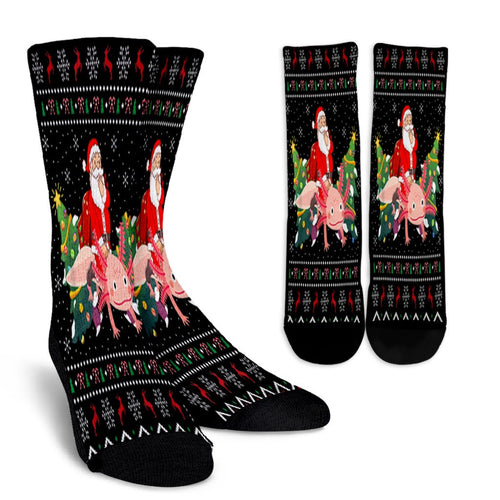 Axolotl Lover Gift Ugly Santa Riding Axolotl Christmas noel socks - perfect christmas gift