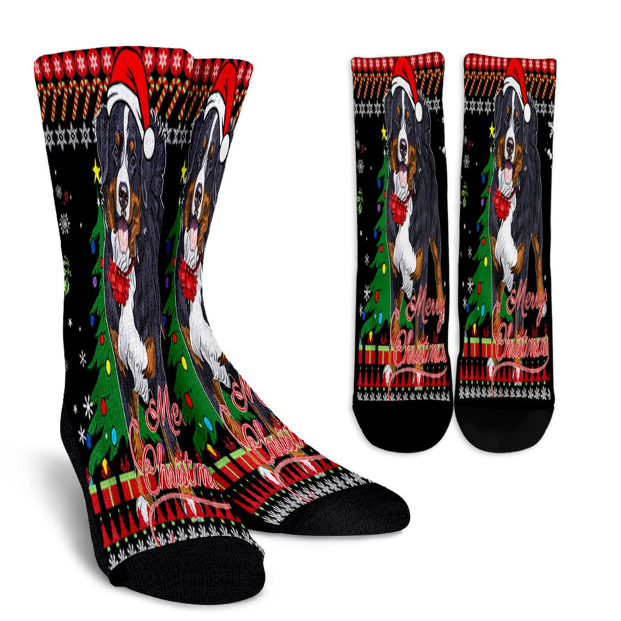 Bernese Mountain Dog Ugly Christmas Sweater noel socks - perfect christmas gift