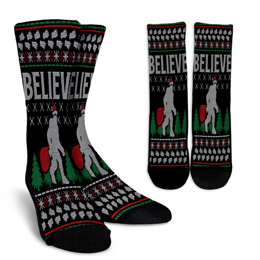 Believe Bigfoot Sasquatch Christmas Ugly noel socks - perfect christmas gift