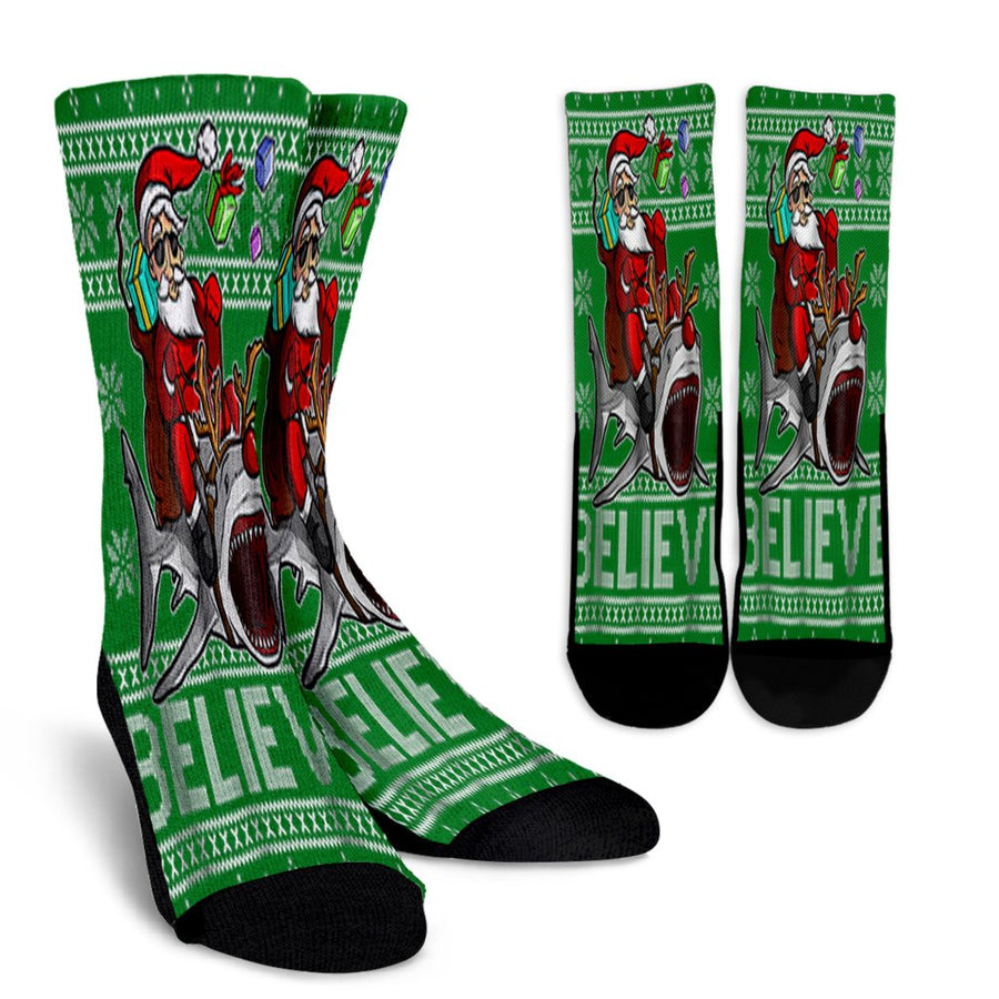 Believe In Santa Riding Shark Christmas Ugly Sweater noel socks - perfect christmas gift