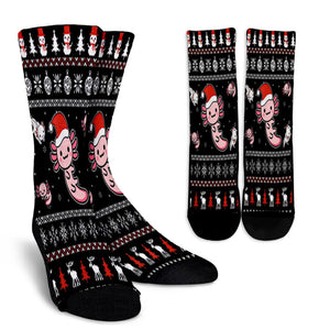 Axolotl Through The Snow Christmas Ugly Ax Axolotl Lovers noel socks - perfect christmas gift