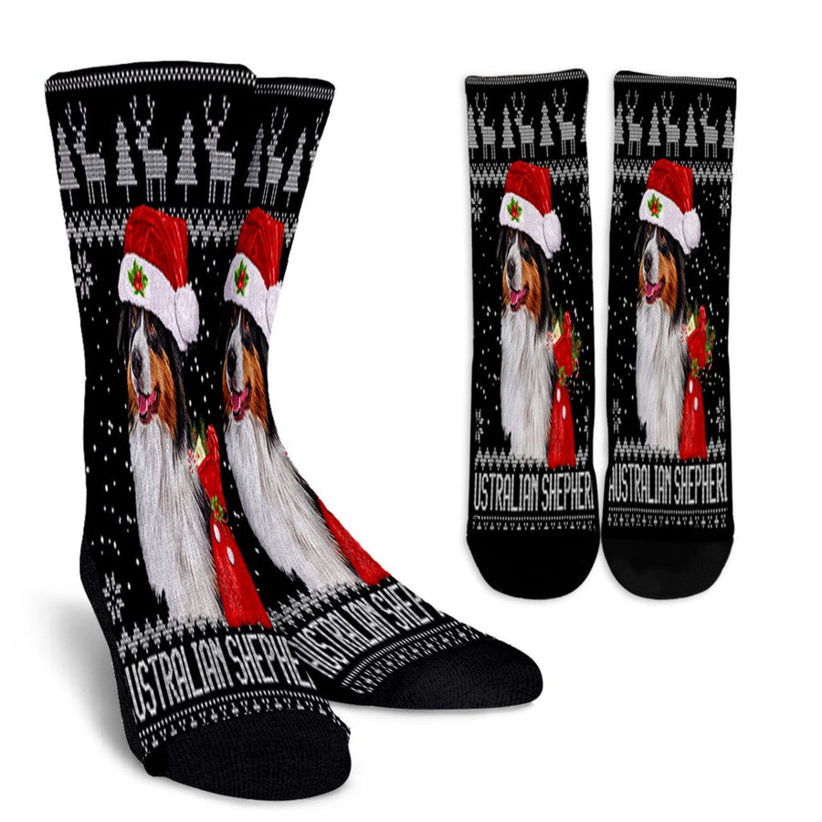 Australian Shepherd Ugly Christmas Santa Lights X Mas Gift noel socks - perfect christmas gift