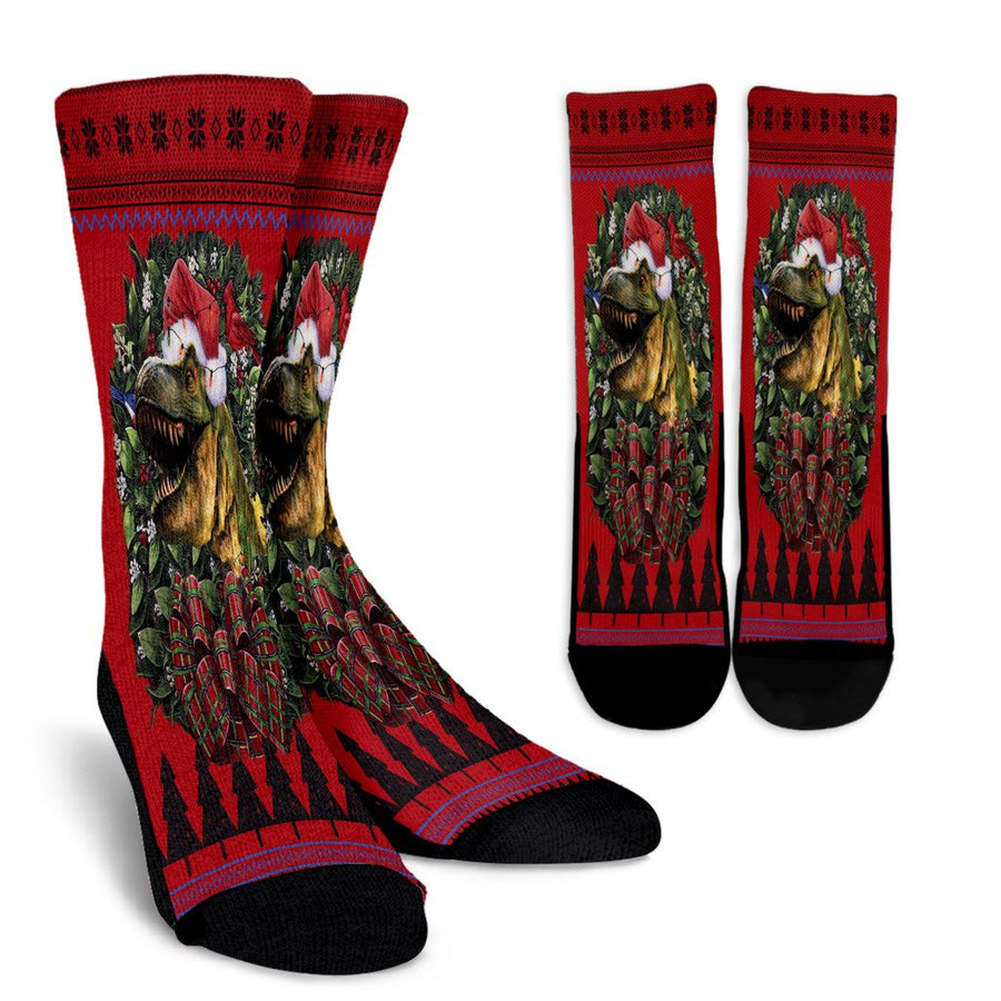 Ulgy christmas Dinosaur 2 noel socks - perfect christmas gift
