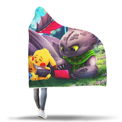 Stitch Pikachu Toothless Hooded Blanket