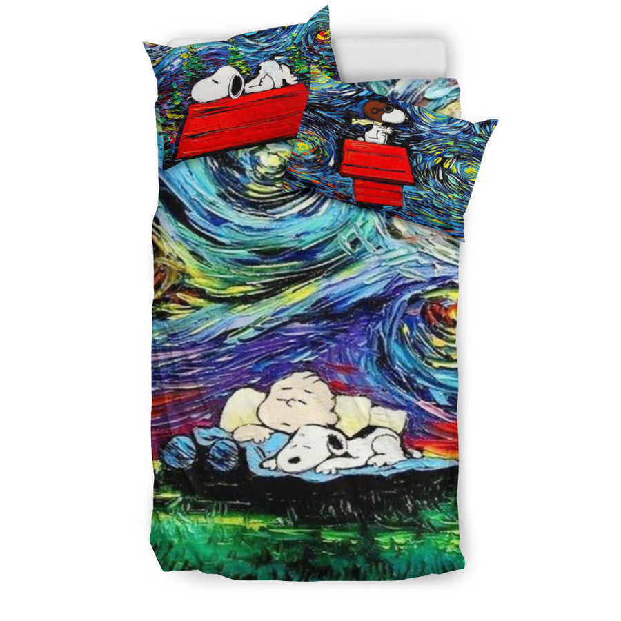 Charlie Brown And Snoopy Art Bed Set