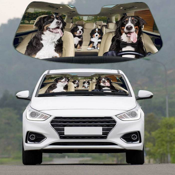 Bernese Mountain Dog Auto Sun Shade Puppy In Car, Multi Sizes Auto Sun Shade For Pet Lovers amazing best gift ideas 2020