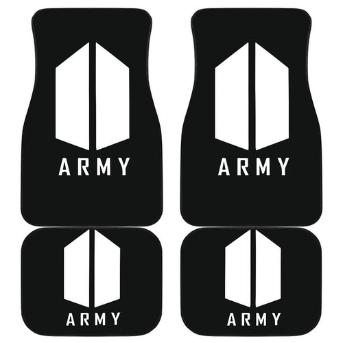 Simple Logo Black & White Army BTS Car Floor Mats