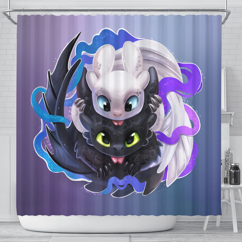 Toothless And The Light Fury Shower Curtain
