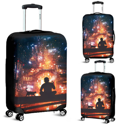 Man And Cat Lonely Luggage Covers