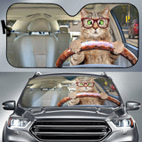 Cat Driving Car Sun Shades