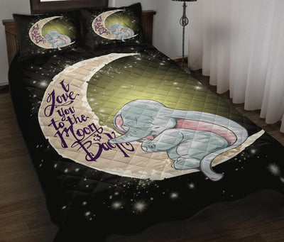 Baby Elephant To The Moon Quilt Bed Sets