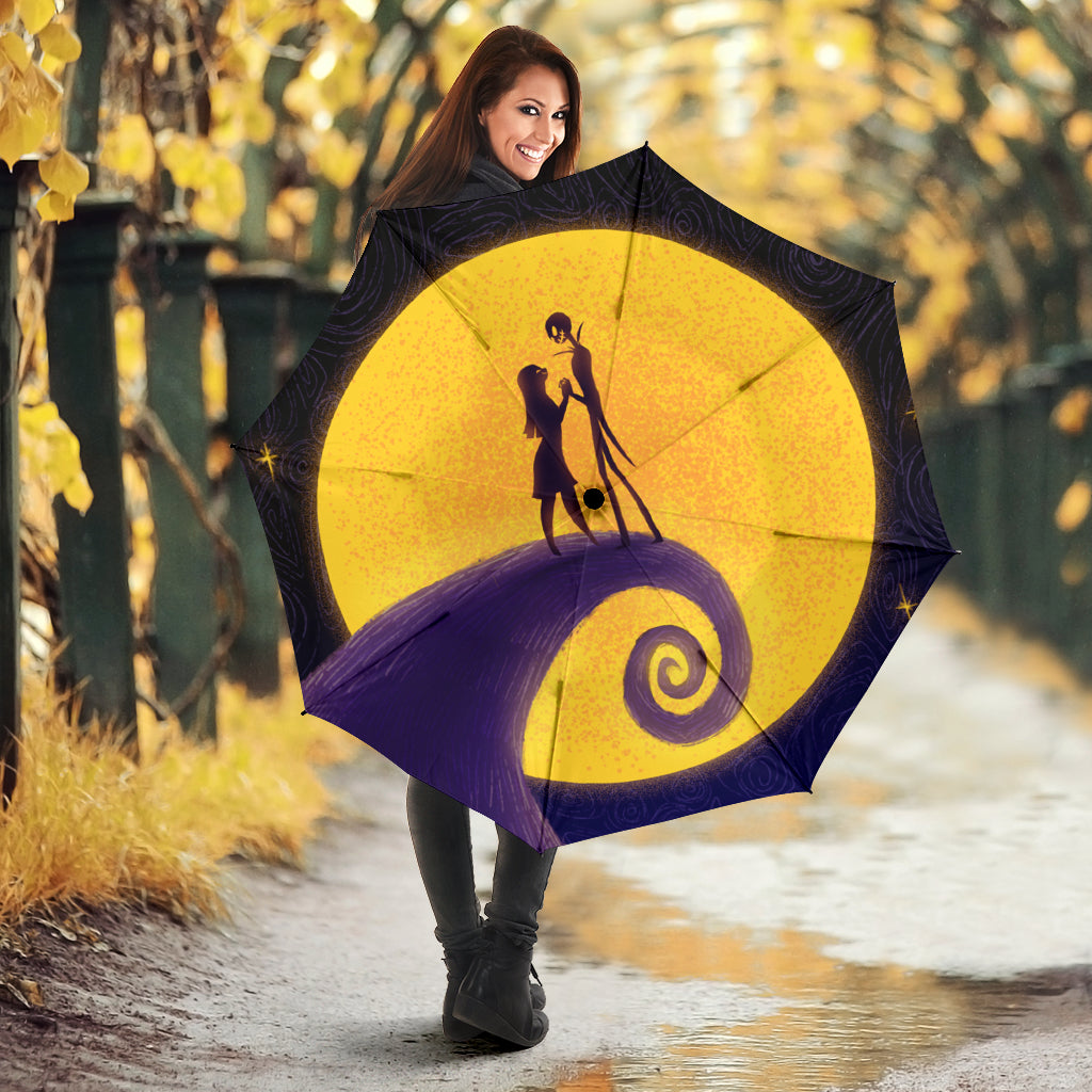 Nightmare Before Christmas Moon Jack And Sally Umbrella
