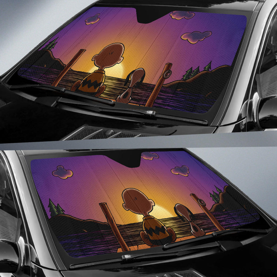 Snoopy Sunset Car Sun Shades