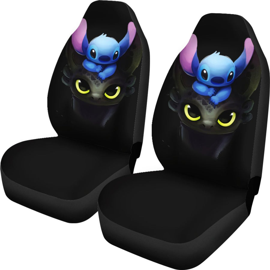 Stitch And Toothless Cute Seat Covers