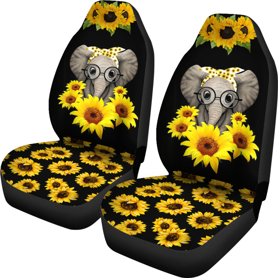 Cute Elephant Love Sunflower Car Seat Covers