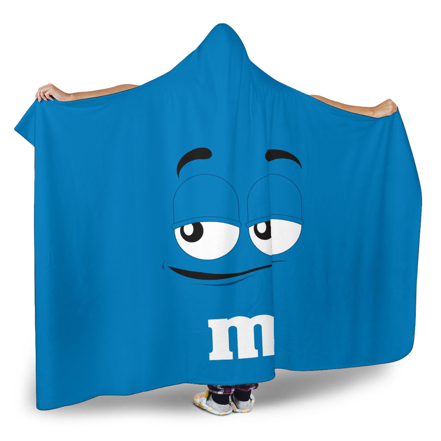 M&M Blue Chocolate Hooded Blanket