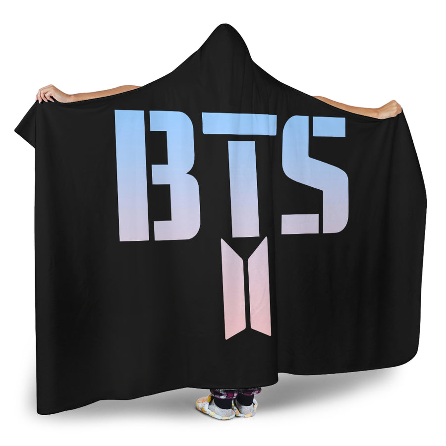 bts logo hooded blanket