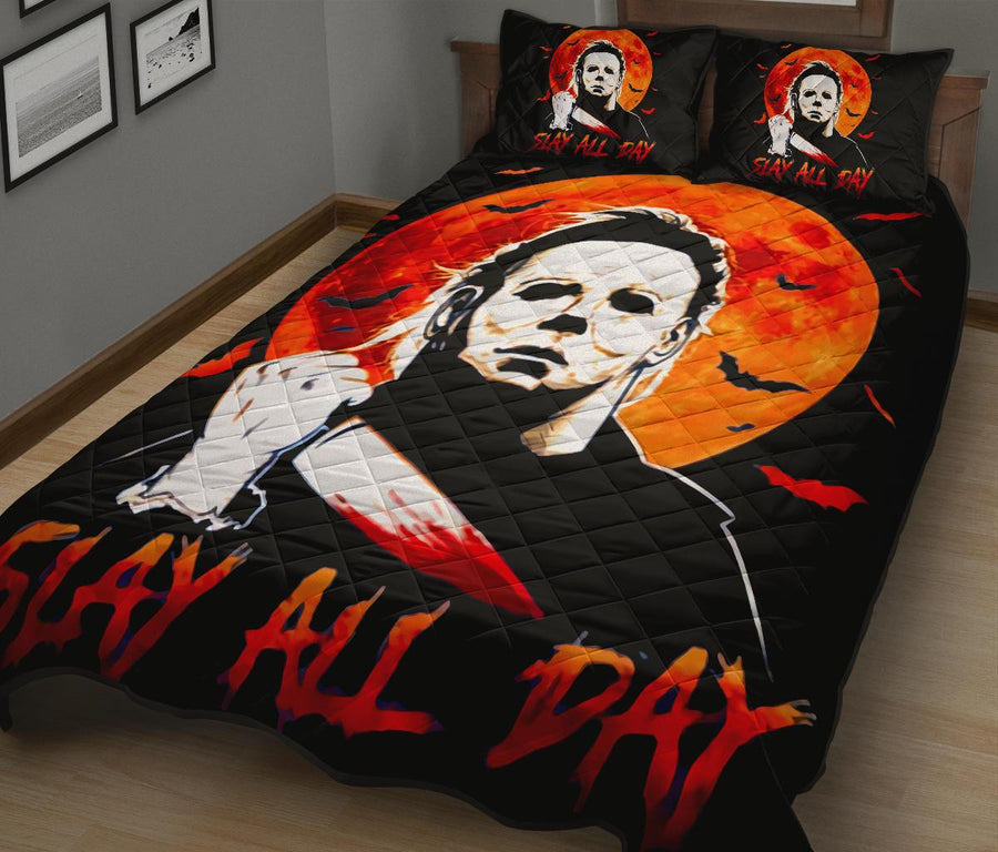 MiChael Myers Halloween Horror Movie Quilt Bed Set - Pillow Case - amazing decor gift ideas 1