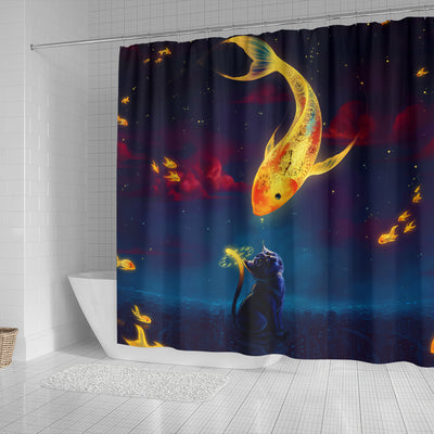 Cat Fish Catch The Moon Shower Curtain