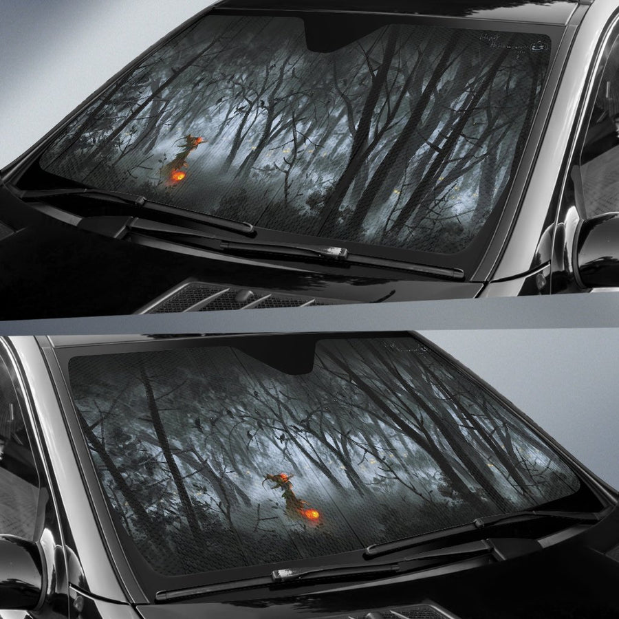 Bare Trees Halloween Pumpkin Sun Shade