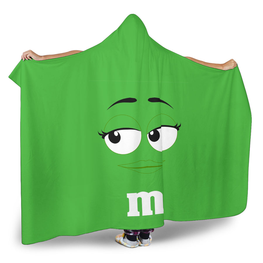 M&M Green Chocolate Hooded Blanket