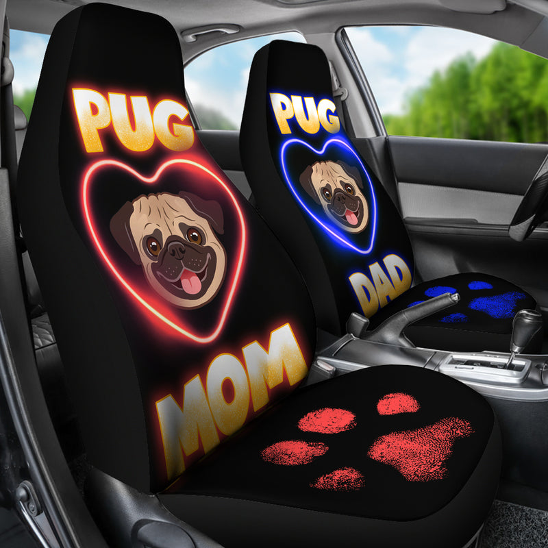 Pug Dog Couple Car Set Covers
