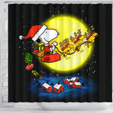 Christmas Snoopy Dog Shower Curtain