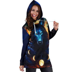 Wolf Galaxy Hoodie Dress 1