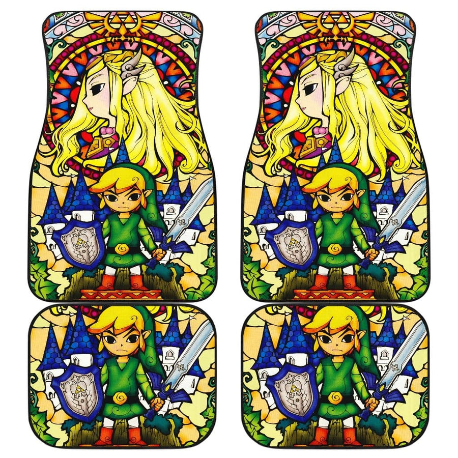 Link Legend Of Zelda Front And Back Car Mats (Set Of 4)