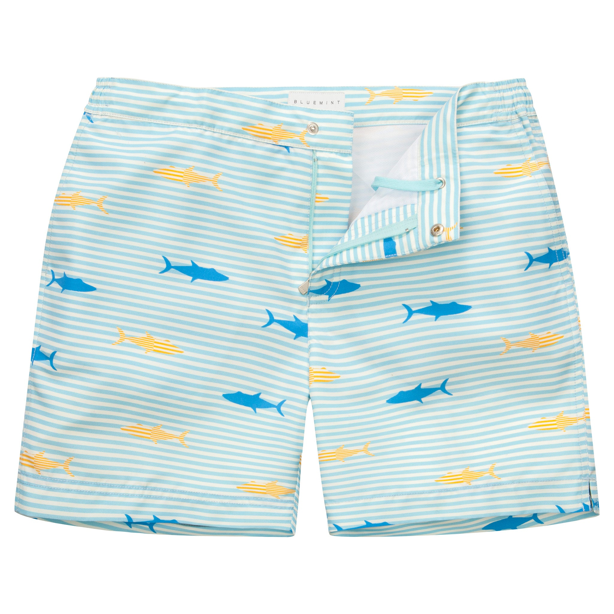 Bluemint Bond Badeshort Shark blau-weiss gestreift