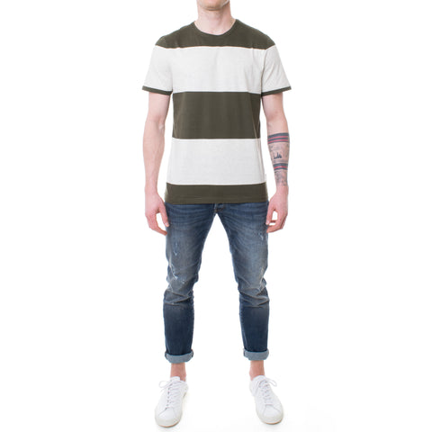 Oliver Spencer Conduit T-Shirt grau-grün gestreift
