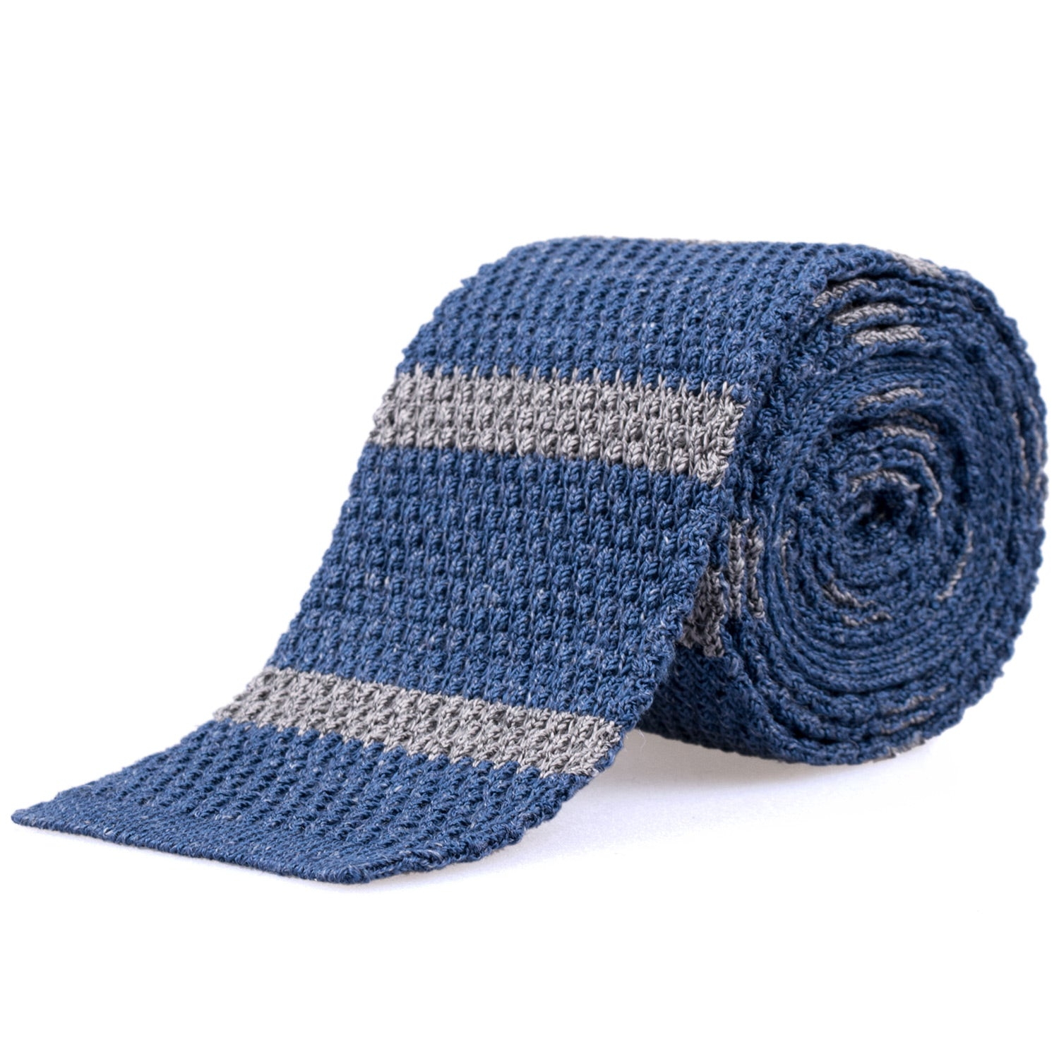 Rosi Collection Strickkrawatte blau-grau gestreift