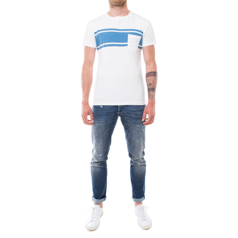 Velva Sheen College Arm Stripe T-Shirt weiß
