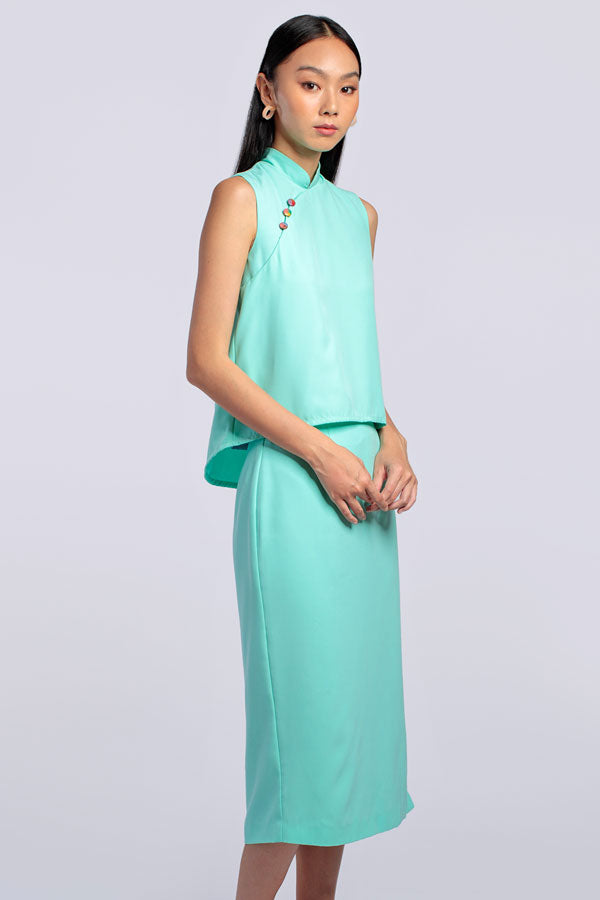 Alex Top & Skirt Set - Aqua